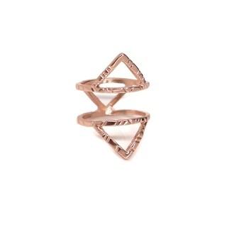 Eternally Haute 14K Rose Gold plated Open Hammered Chevron Ring