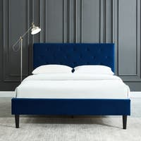 Armando-Queen Velvet Button Tufted Platform Bed