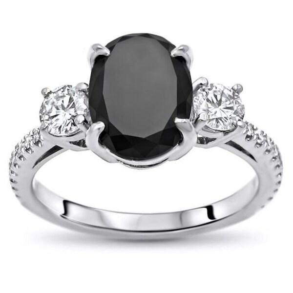 Black Diamond Ring 1 Ct Tw Oval Cut 14k White Gold: Shop Noori 14k White Gold 2 1/2ct TDW Certified Oval-cut