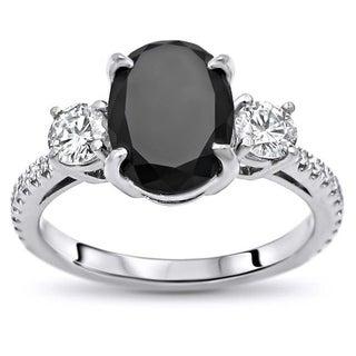 Noori 14k White Gold 2 1/2ct TDW Certified Oval-cut Black Diamond 3 Stone Engagement Ring