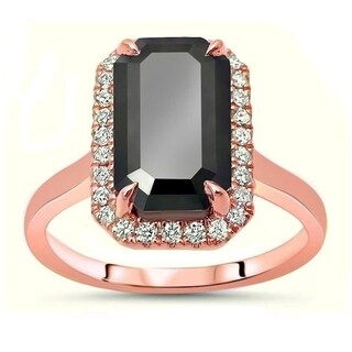 Noori 14k Rose Gold 3 3/5ct TDW Certified Emerald cut Black Diamond Engagement Ring
