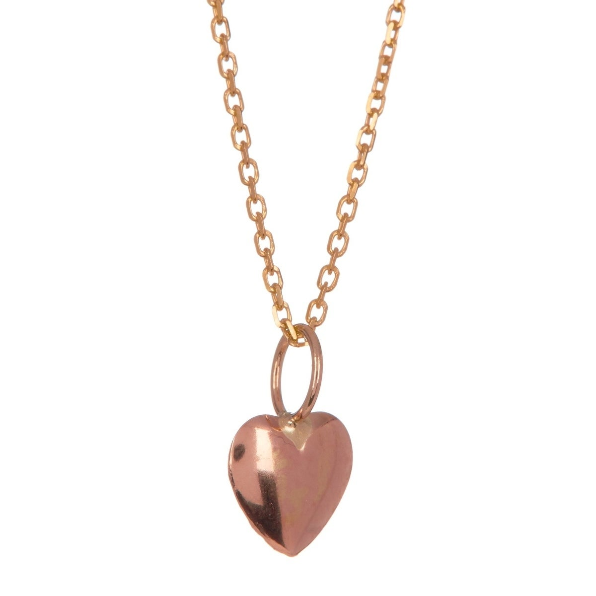 d9164305f Pori Jewelers 14K Solid Rose Gold Heart Pendant with Gold-fill Chain  Necklace