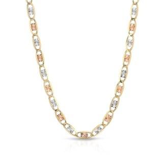 Pori Jewelers 14K Solid Gold 2MM 3-tone Valentino Chain Necklace BOXED