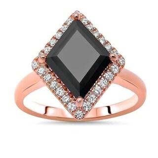 Noori 14k Rose Gold 2 1/2ct TDW Certified Kite Shape Black Diamond Engagement Ring
