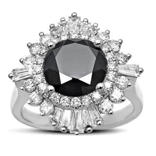 Noori 14k White Gold 2 4/5ct TDW Certified Round-cut Black Diamond Ballerina Engagement Ring