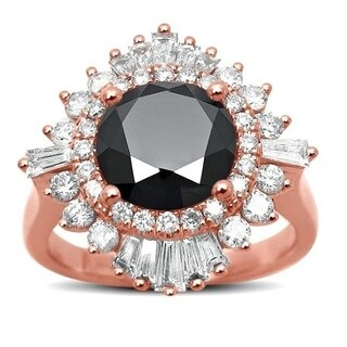 Noori 14k Rose Gold 2 4/5ct TDW Certified Round-cut Black Diamond Ballerina Engagement Ring