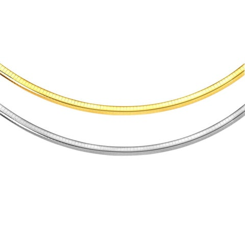 Pori Jewelers 17.5 inch 2-Tone Sterling Silver & 14K Gold 3MM Reversible Omega Chain Necklace BOXED