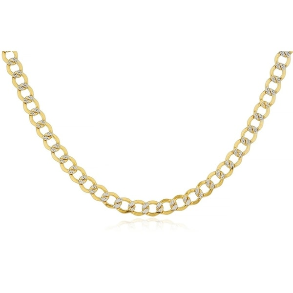 bbb783594 Pori Jewelers 14K Solid Gold 6.8MM Diamond-cut Pave Cuban Chain Necklace  BOXED