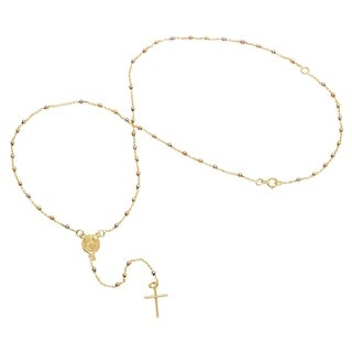 Pori Jewelers 3-tone 18K Solid Gold Rosary Necklace BOXED