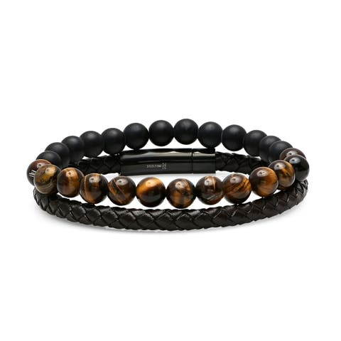 Steeltime Men's Set of 2 Brown Leather Braided Bracelet and Black Lava and Tiger Eye Beaded Bracelet