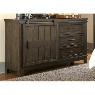 Thornwood Hills Youth Rock Beaten Grey Barn Door Dresser