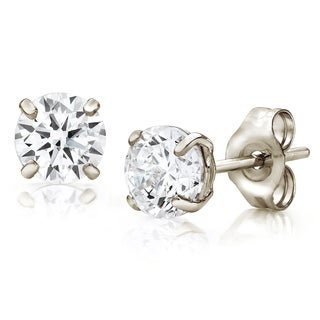 Pori Jewelers 14K White Gold 4MM Round-Cut Stud Earrings made with Crystals by Swarovski BOXED