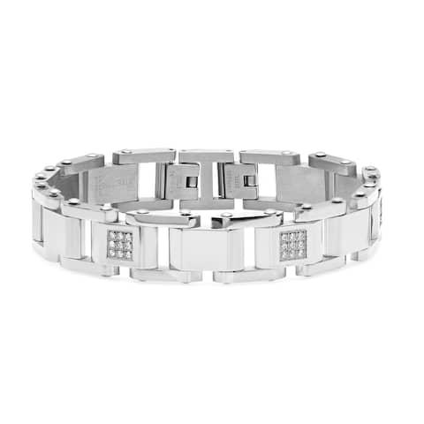 Steeltime Men's Stainless Steel Cubic Zirconia Link Bracelet in 2 Colors
