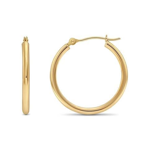 Pori Jewelers 14K Gold Bonded 2x25MM Hoop Earrings BOXED