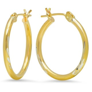Pori Jewelers 14K Gold Bonded 2x22MM Diamond-cut Hoop Earrings BOXED