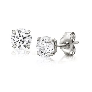 Pori Jewelers 14K White Gold 3MM Round-Cut Stud Earrings made with Crystals by Swarovski BOXED