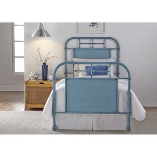 Carbon Loft Cauthen Youth Distressed Metal Blue Twin Metal Bed