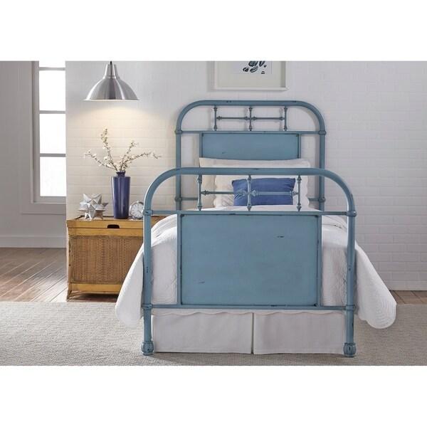 Vintage Series Youth Distressed Metal Blue Twin Metal Bed