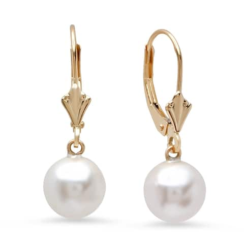 046f39274 Pori Jewelers 14K Solid Gold White Swarovski Pearl Drop Leverback Earrings  BOXED