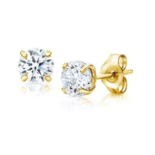 Pori Jewelers 14K Gold 3MM Round-Cut Stud Earrings made with Crystals by Swarovski BOXED