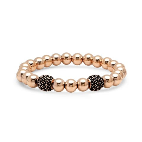 Piatella Ladies Rose Gold Tone Stainless Steel Beaded Stretch Bracelet with Black Enamel Accents