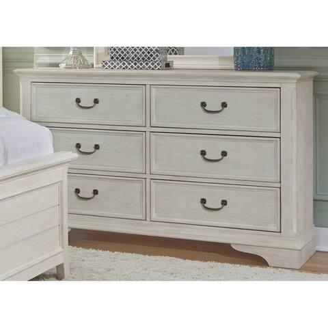 Bayside Antique White Wire Brushed 6-drawer Dresser