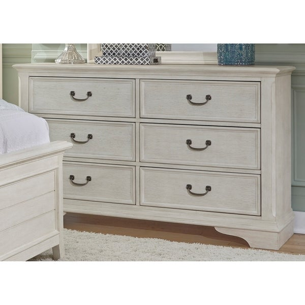 Bayside Youth Heavy Wire Brushed Antique White 6-drawer Dresser