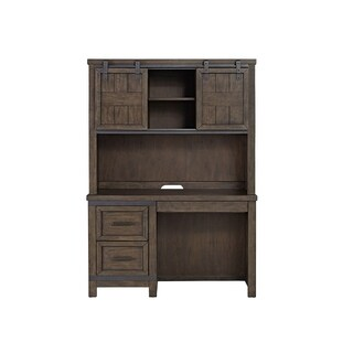 Thornwood Hills Youth Rock Beaten Grey Student Desk and Hutch
