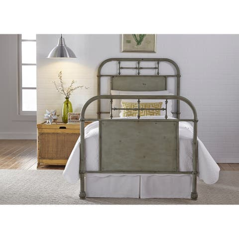 Carbon Loft Cauthen Youth Distressed Metal Green Twin Metal Bed