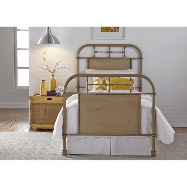 Vintage Series Youth Distressed Metal Cream Twin Bed On Free Shipping Today 22159082