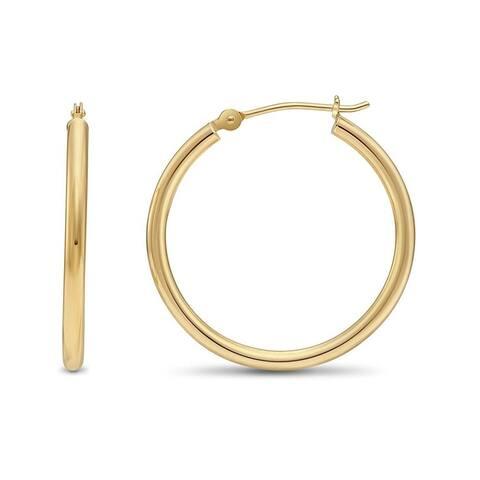 Pori Jewelers 14K Gold Bonded 2x30MM Hoop Earrings BOXED
