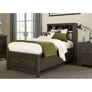 Thornwood Hills Youth Rock Beaten Grey Full Bookcase Bed