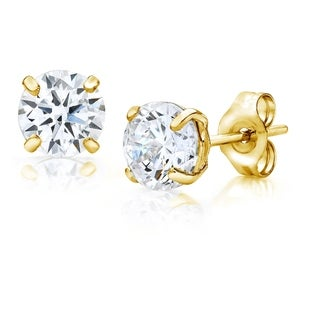 Pori Jewelers 14K Gold 5MM Round-Cut Stud Earrings made with Crystals by Swarovski BOXED