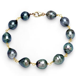DaVonna 14k Yellow Gold 8-10mm Black Baroque Tahitian Pearl Link Bracelet