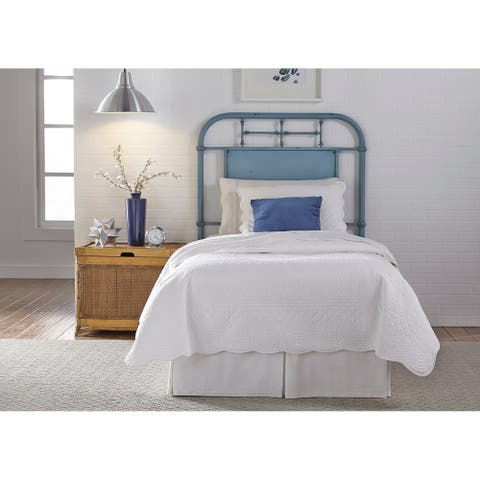 Carbon Loft Cauthen Youth Distressed Metal Blue Full Metal Headboard