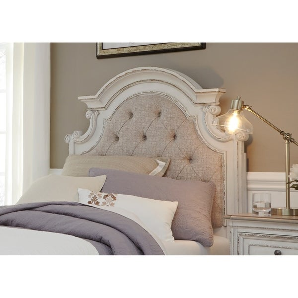 shop magnolia manor youth antique white twin upholstered panel headboard on sale free. Black Bedroom Furniture Sets. Home Design Ideas