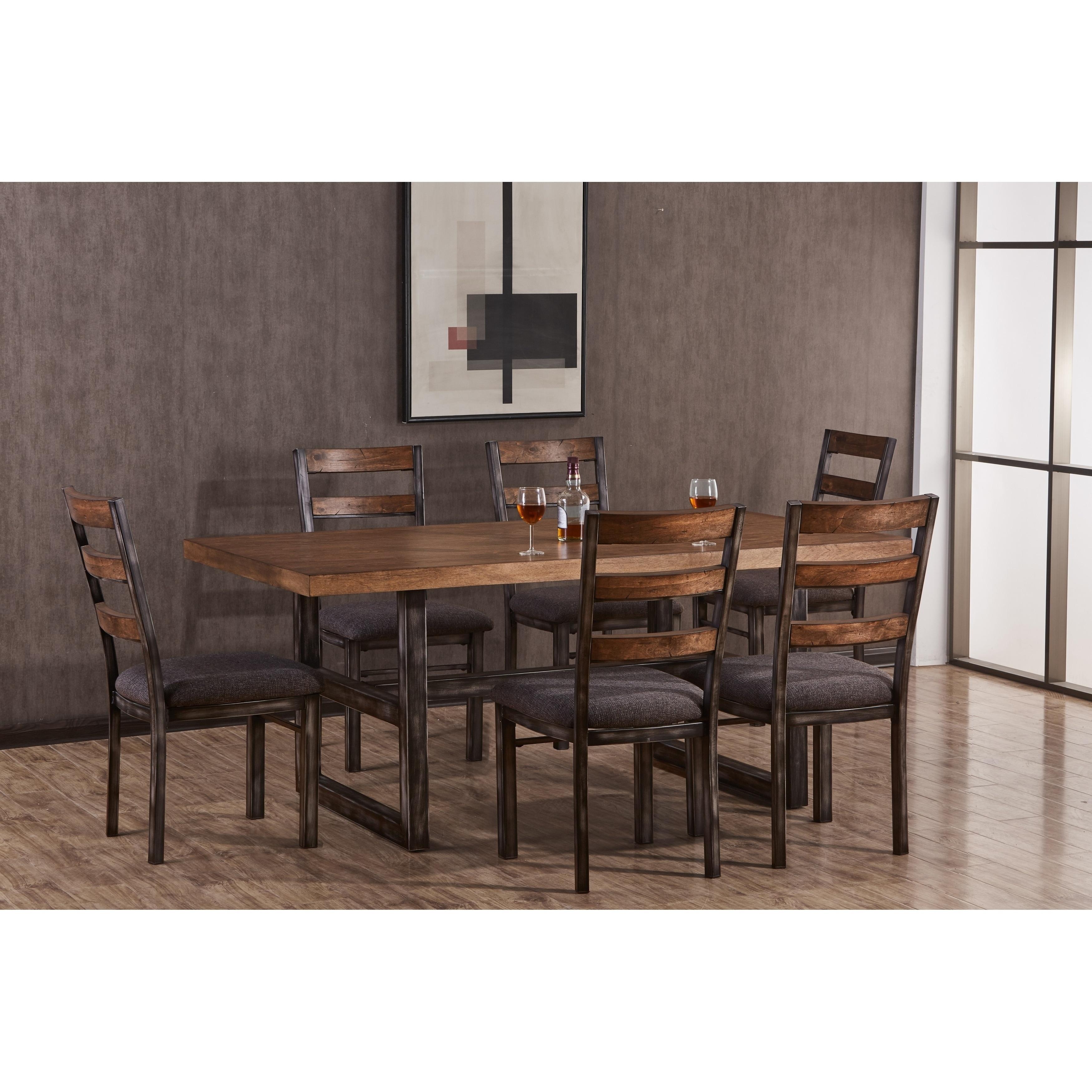 Carbon Loft Edmond Distressed Metal Mixed Media Dining Table
