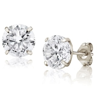 Pori Jewelers 14K White Gold 7MM Round-Cut Stud Earrings made with Crystals by Swarovski BOXED