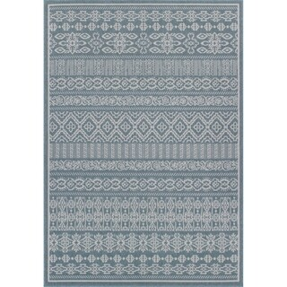 Rug and Decor Stanford Southwestern Blue Weatherproof Outdoor Traditional Rug - 6' x 9'