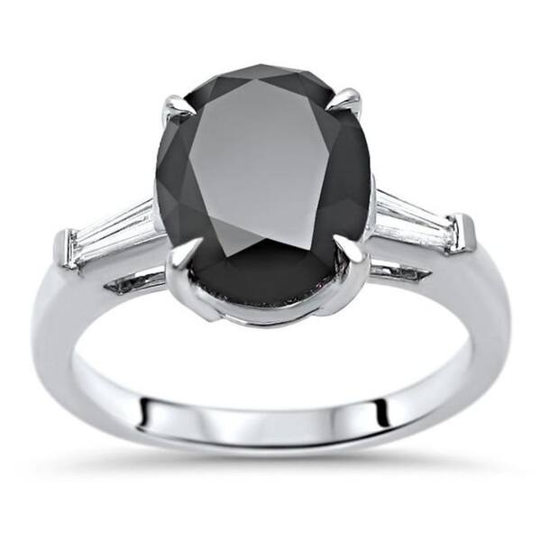7dab078badbea Shop 14k White Gold 3ct TDW Certified Oval-cut Black Diamond Tapered ...