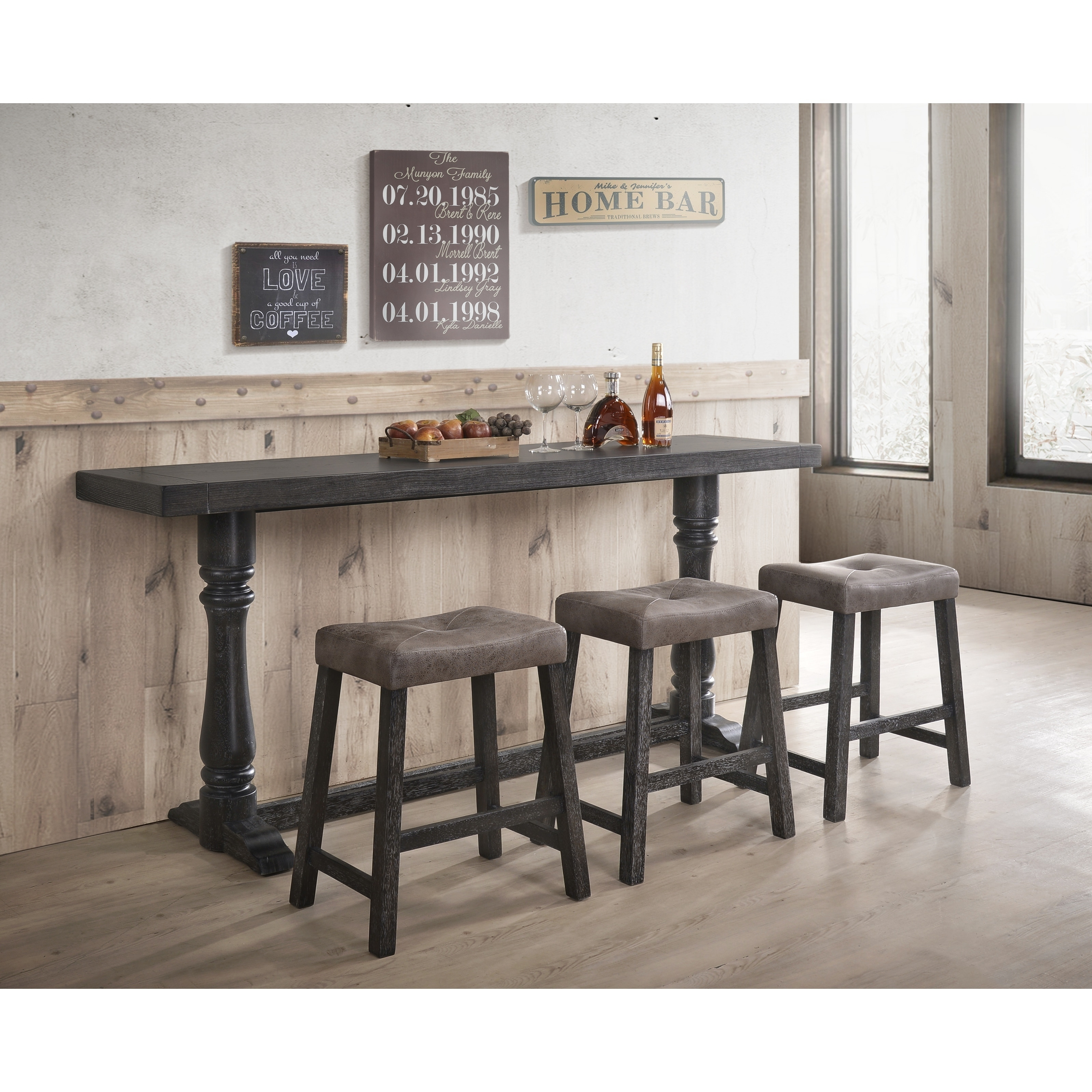 The Gray Barn Uppercross Charcoal Counter Stools (Set of 2)