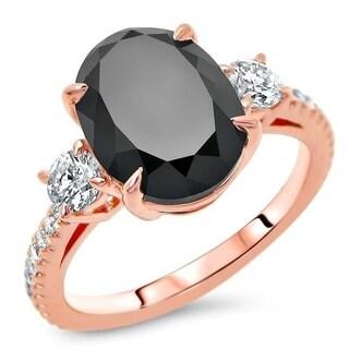 Noori 14k Rose Gold 4 1/2ct TDW Certified Oval-cut Black Diamond 3 Stone Engagement Ring