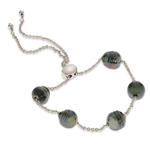 PearLustre by Imperial Sterling Silver Tahitian Pearl Bolo Bracelet