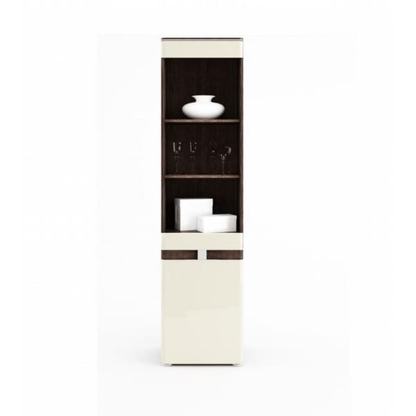 Tre Natural Cherry Wood/ High Gloss Beige Wood and Glass 1-door Display Cabinet