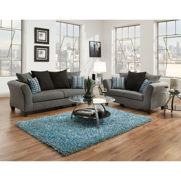 Sofatrendz Dustin Graphite Grey Sofa Loveseat 2 Pc Set