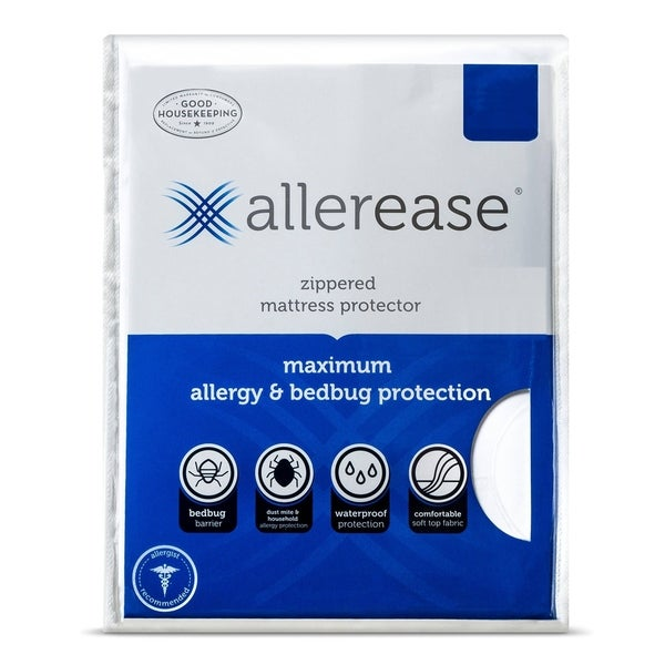 AllerEase Maximum Waterproof, Allergy and Bedbug Zippered Mattress Protector - White