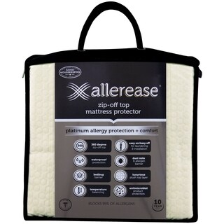AllerEase Platinum Zip-Off Top Allergy Mattress Protector - White