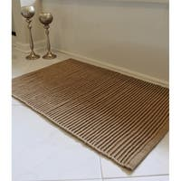 "Unbelievable Mats 20"" x 32"" Beige Ribbed Bath Rug"