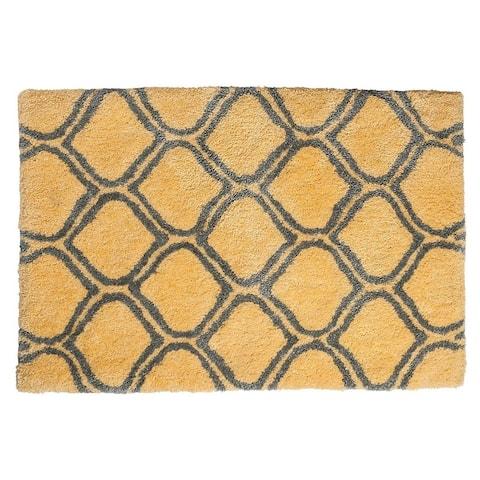 """Unbelievable Mats 18"""" x 30"""" Chic Yellow Trellis Handmade Cotton Bath Mat"""