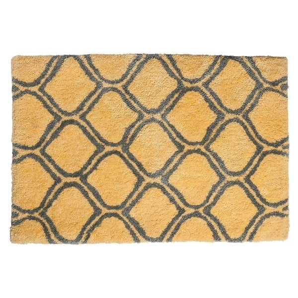 "Unbelievable Mats 18"" x 30"" Chic Yellow Trellis Handmade Cotton Bath Mat"
